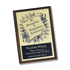 achievement plaque with 2 personalized engraved gold and black plastic plates, mounted on wood base