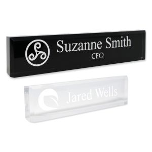 Acrylic Block Name Plate with Logo & Text