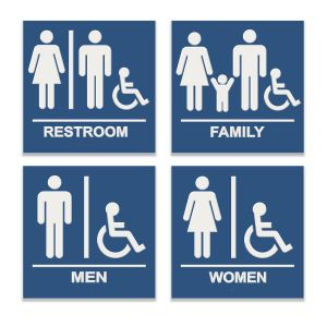 Blue with white engraved compliant restroom sign with braille raised letteringn with family bathroom, unisex bathroom, women's bathroom and men's bathroom signs with wheel chair accessibility.