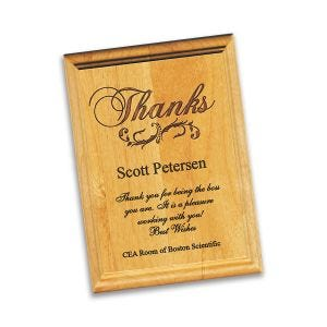 100% solid red alder wood plaque, laser engraved, with thank you logo and personalized inscription