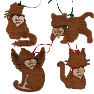 Personalize Wooden Cat Ornaments Pick from 5 Different Types