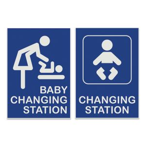Engraved baby changing station signs with pictogram images and text.