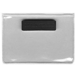 Horizontal Style Clear Vinyl Badge Holder Pocket with Magnetic Fastener on Back