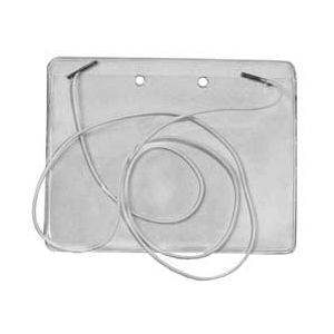 """Set of a transparent vinyl badge holder and a 36"""" white elastic cord with two metal end tips."""