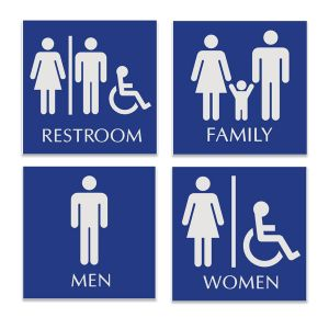 Basic pictogram engraved restroom sign available in Family Restroom Sign, Women's Restroom Sign, Men's Restroom Sign, and Unisex restroom sign.