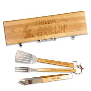 Personalized bamboo BBQ grill box gift set with laser engraved designs and stainless steel grill fork, spatula and tongs