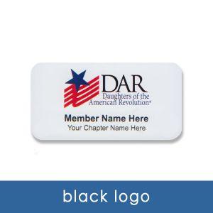 DAR name tag with black logo
