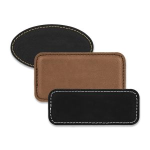 Rectangle and oval shaped black and brown blank leather name tags with sown edges.