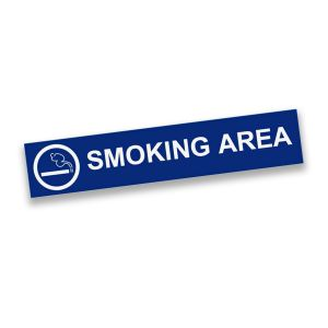 Blue plastic engraved smoking area sign with text and smoking graphic.