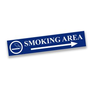 Blue plastic engraved smoking area sign with text, arrow, and smoking graphic.