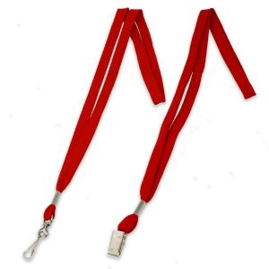 """Red 1/2"""" polyester shoelace lanyard with swivel hook fastener and bulldog clip fastener"""