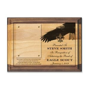 boy scout eagle scout plaque, laser engraved on alder wood with photo holder