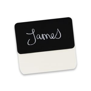 Chalkboard pocket name tag with written name on tag face.