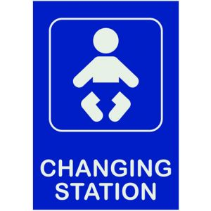 restroom sign featuring a child figure in a diaper and the words Changing Station