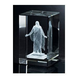 Crystal Cube with Laser Engraved Christus statue