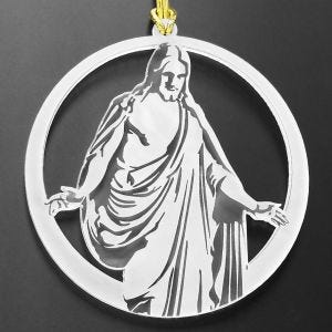 LDS christmas tree ornament with Christus statue design, 100 percent acrylic plastic with loop for hanging