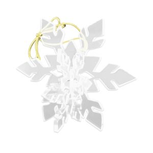 Clear acrylic laser cut snowflake ornament, assembled to appear 3D and tied with a golden metallic cord or hanging.