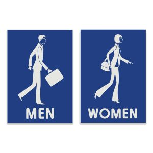 Creative engraved rectangle restroom signs with business men and women.