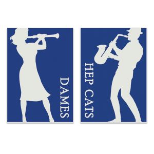 Creative engraved restroom signs, with men and womens designs in Hep Cats and Jazz Dames.