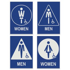 Creative lettered people engraved restroom signs, men and women with 2 different styles each.