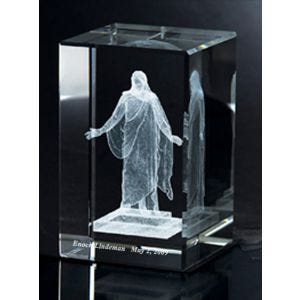 Crystal Cube with Laser Engraved Christus statue & personalization