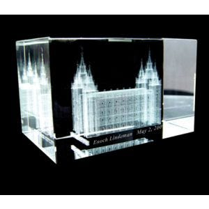Crystal Cube with Laser Engraved Salt Lake Temple & personalization