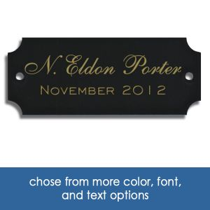 custom brass perpetual plaque inserts with engraved text and information.