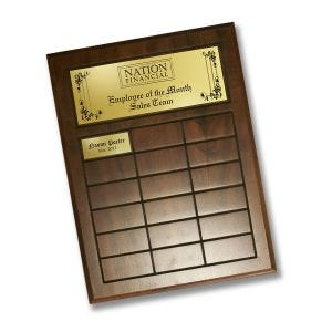 fully-customizable cherry finish perpetual plaque with engraved gold plastic header plate and insert