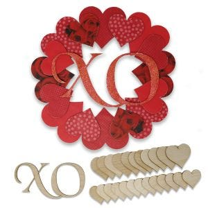 DIY Valentine's Day Heart Wreath with complete example product and assembly pieces.