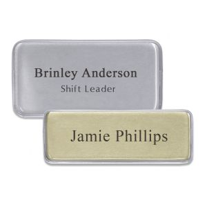 Domed name tags with full color logo and lines of text. Silver metallic finish and gold metallic finish. With reusable plastic dome cover.