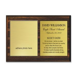 Individual employee of the month or year plaque, engraved gold plastic on wood base