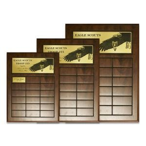 boy scout eagle scout perpetual plaque with engraved black & gold plastic featuring eagle graphic and the scout oath