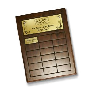 employee of the month or employee of the year perpetual plaque with cherry finish and engraved plastic header plate and inserts