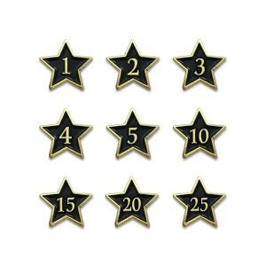 Employee recognition stars with black face and gold edges and beveled year numbers.