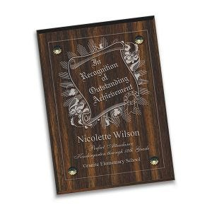 100% laser engraved acryllic plaque plate with personalized description, mounted on wood base