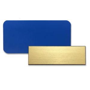 Blank plastic name tags made from blue plastic and gold plastic.