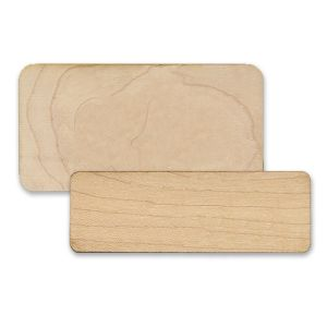 Standard birch wooden name tags, blank, cut from high quality sheets of wood.