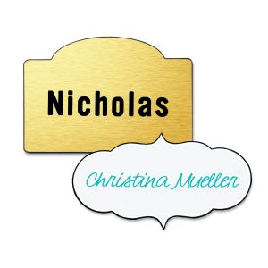 Custom shaped name tags with full color text. Beige background with purple text and white background with turquoise text.