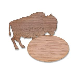 High quality wood grain custom shaped name tags, blank in the shape of an oval and buffalo