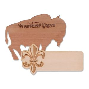 custom shaped wooden name tags with logos assorted in various wood-grain colors and shapes