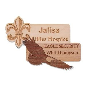 custom shaped wooden name tags with logo & text assorted in various wood-grain colors and shapes