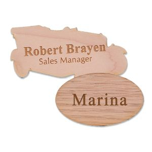 Custom Shaped Wooden Name Tags with Text