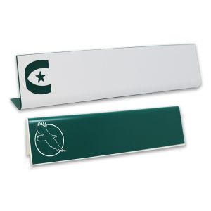 L-shaped name plates with engraved logo and text.