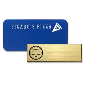 Plastic blue and gold name tags with engraved logos.
