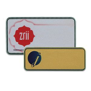 Silver and gold plastic with silver frames and full color printed logos.