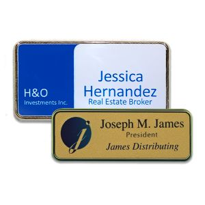 Full color printed logos and text on white and gold plastic name tags with silver and gold frames.