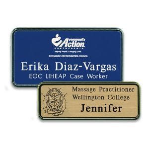 Blue and gold plastic name tags with engraved logos, names, titles, and text with silver and gold frames.