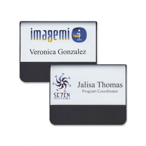 Full color pocket name tags with logos & names & titles on a white background.