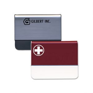 Silver and red pocket name tags with engraved logos.