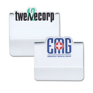 Full color pocket name tags on a white background with logos that pop up above the top of the tag.